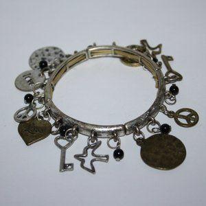 Boho style peace charm bracelet silver